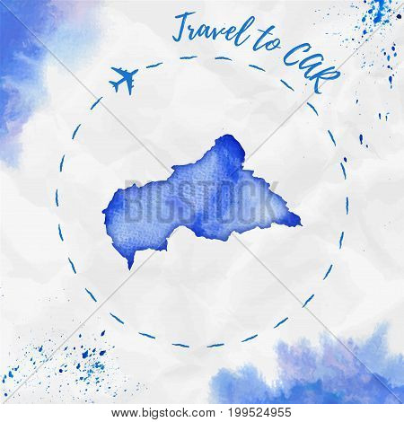Car Watercolor Map In Blue Colors. Travel To Car Poster With Airplane Trace And Handpainted Watercol