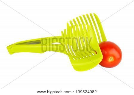 Green tomato slicer isolated on white background