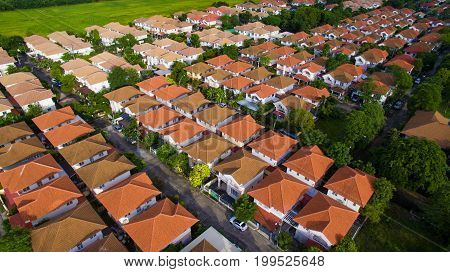 aerial view of home village and green envrionmental in bangkok thailand
