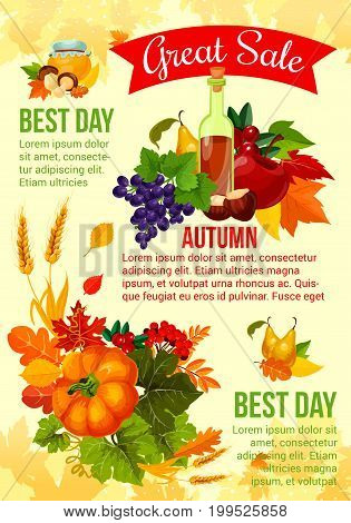 Autumn sale banner with fall leaf, harvest vegetable and fruit. Season sale offer poster with pumpkin, apple, grapes, cranberry, mushroom and wheat, decorated with orange maple leaf and forest foliage