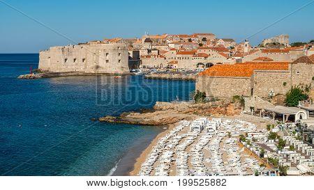Beach Of Dubrovnik Old Town In Dalmatia, Croatia.