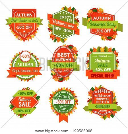 Autumn sale tag and label set with fall leaf. Special offer of discount price badge with autumn foliage of forest tree, acorn branch and ribbon banner for seasonal shop promotion, retail themes design