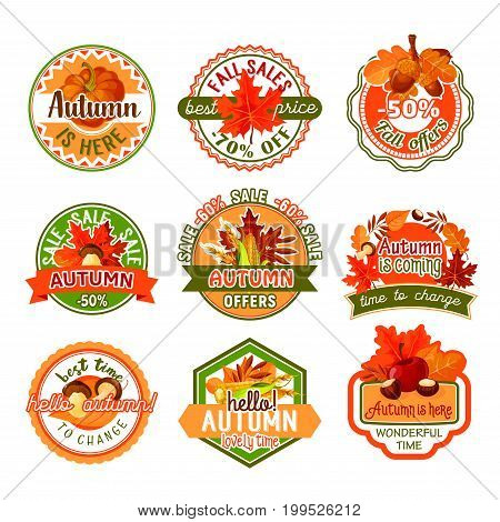 Autumn label set of fall nature season and sale discount offer template. Autumn maple leaf, pumpkin vegetable, apple fruit, forest mushroom, acorn and berry for tag and badge design