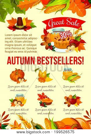 Autumn sale banner with Thanksgiving bestsellers and fall leaf frame. Pumpkin and corn harvest vegetable, apple fruit, cranberry pie, mushroom, foliage of forest tree for discount offer poster design