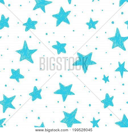 Beautiful seamless night sky pattern with textured stars hand drawn.