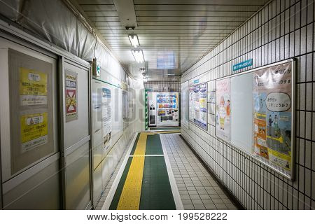 TOKYO, JAPAN - JUNE 18 2017 : The Walkway inside Suehirocho station G 14 (Tokyo Metro) entrance