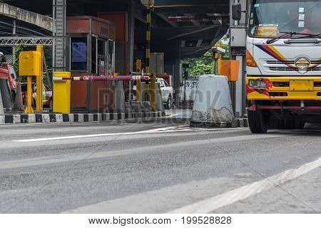 Bangkok Thailand - May 16 2017 : Gate for expressway fee payment in Bangkok by EXAT. EXAT is Expressway Authority of Thailand.