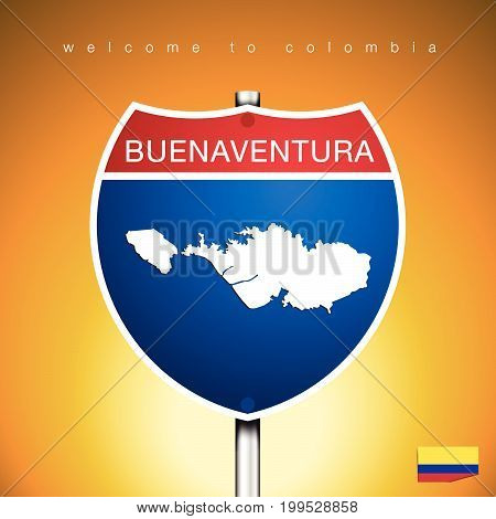 An Sign Road America Style with state of Colombia with Yellow background and message CALI and map vector art image illustration