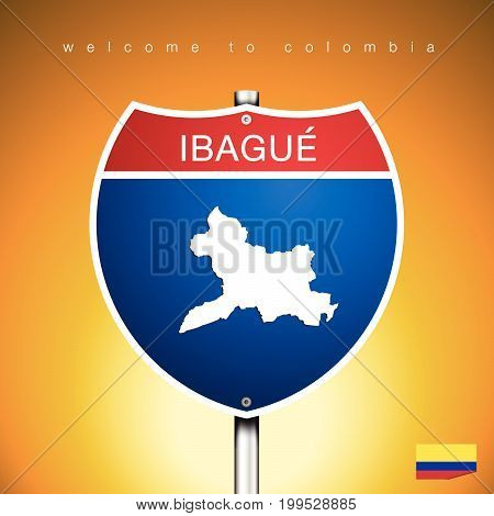 An Sign Road America Style with state of Colombia with Yellow background and message IBAGUE and map vector art image illustration