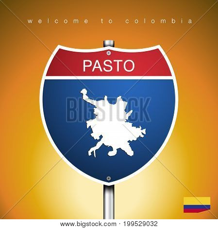 An Sign Road America Style with state of Colombia with Yellow background and message PASTO and map vector art image illustration