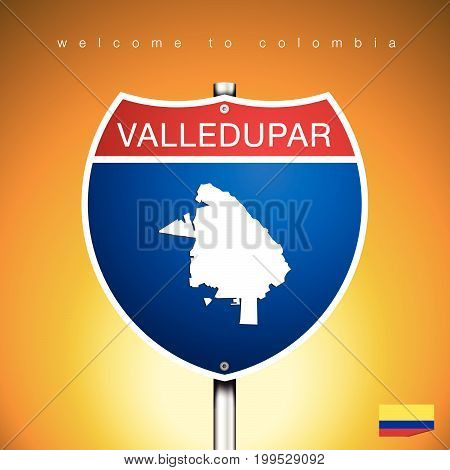 An Sign Road America Style with state of Colombia with Yellow background and message VALLEDUPAR and map vector art image illustration