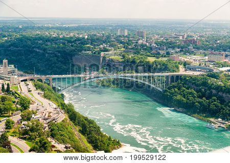 Bridge Over Us Canada Border In Niagara Falls