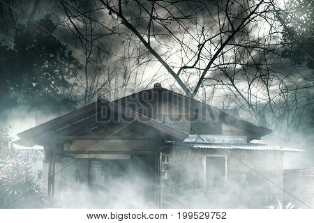 Horror background view haunted house at night
