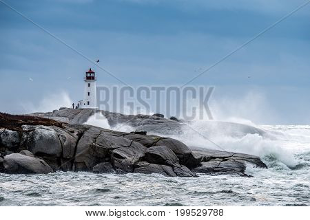 Peggys Point Lighthouse during a Hurricane in Atlantic Canada
