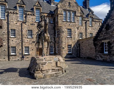 EDINBURGH, SCOTLAND - JULY 29: the equestrian statue of the Field Marshal Earl Haig in Edinburgh castle July 29, 2017 in Edinburgh Scotland. Located outside the Scottish War Museum.