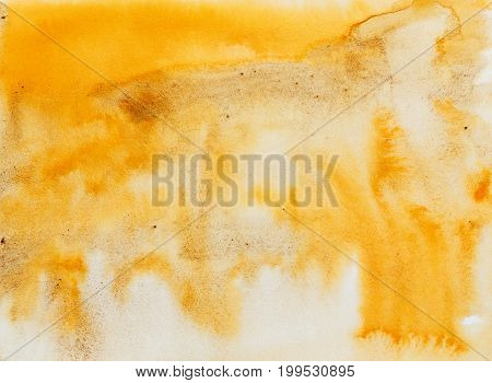 Yellow brown watercolor abstract background. Gradient watercolor drawing. Technique of wet watercolor. Element of design.