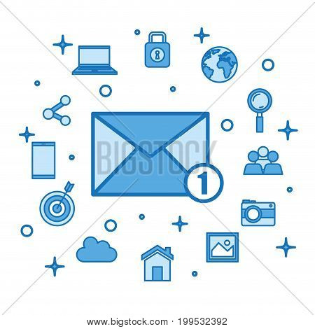 email receiving messages new mail inbox internet media vector illustration