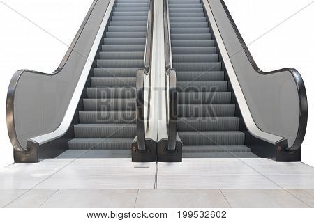 Escalator step and white floor isolated on white background.