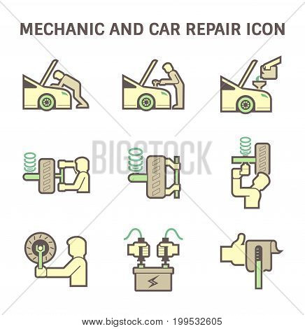 Mechanic and car repair service vector icon set design.