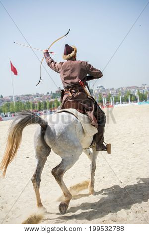 Ottoman Horseman  Archer Riding And Shooting