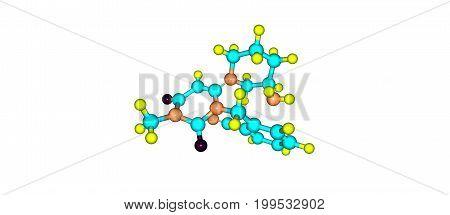 Alogliptin Molecular Structure Isolated On White