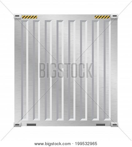 Vector of cargo container with metal surface for shipping and transportation work isolated on white background.