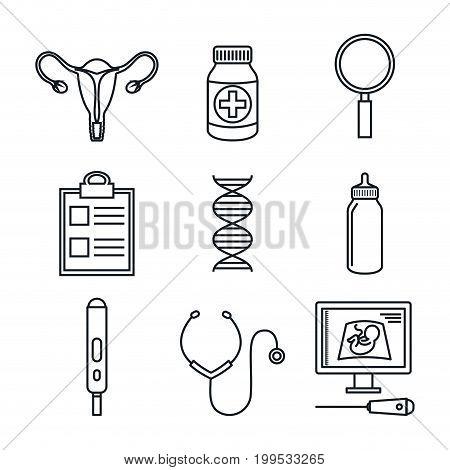 pregnancy maternity medical equipment elements health care vector illustration