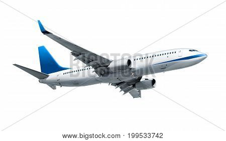 Airplane isolated on white background, air vehicle