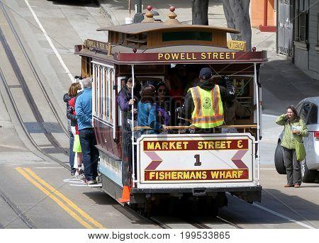 San Francisco, CA - April 13, 2017 : Historic street car transporting passengers in San Francisco, CA