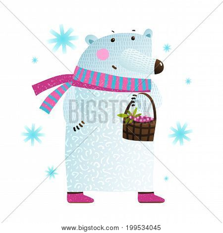 Polar bear with basket of berries cartoon. Vector illustration.
