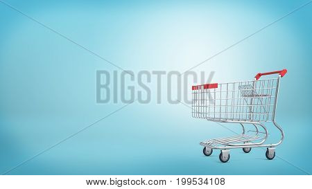 3d rendering of a shopping cart with a red handle isolated on blue background. Sales and promotions. Grocery shop and supermarket. Going shopping.