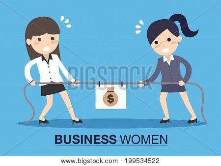 Two business women pulling rope in middle of which sack bag with money