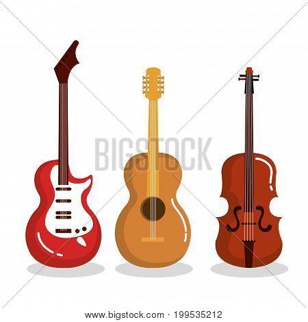 music instruments guitars violin acoustic vector illustration