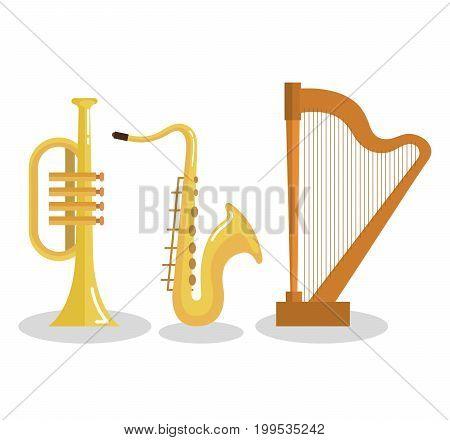 set of musical instruments event symbols vector illustration