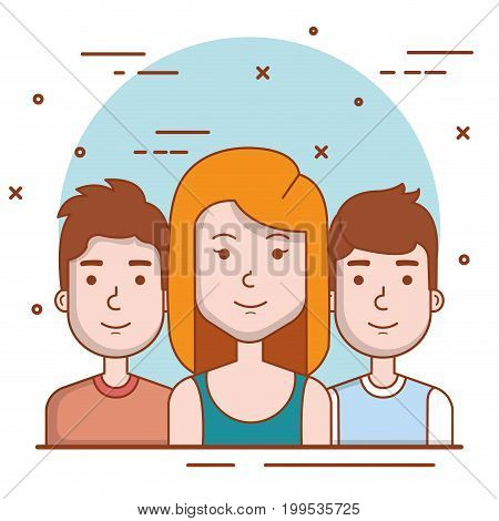 set of people human woman and men young faces portraits vector illustration