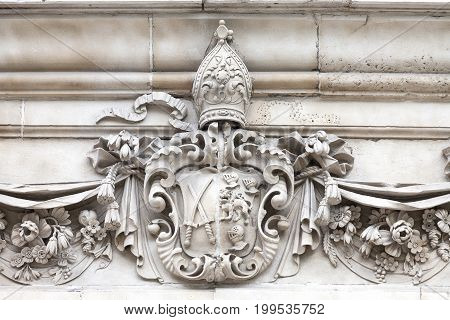 18th century St Paul Cathedral details London United Kingdom. It is an Anglican monumental cathedral the seat of the Bishop of London