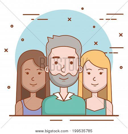set of people human man and women faces portraits vector illustration