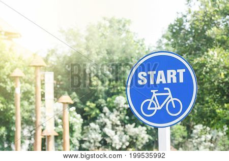Bicycle start signage in the park,sing and symbol