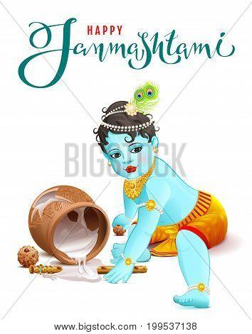 Happy Krishna Janmashtami. Blue boy god broke pot with yogurt. Vector illustration text for greeting card