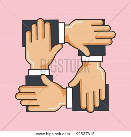 charity crossed arms team work help vector illustration