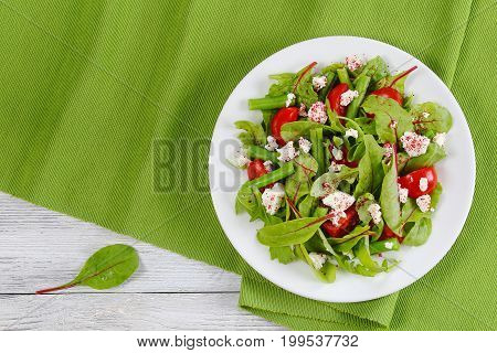 delicious healthy low calories salad of green beans chard arugula tomato and cottage cheese sprinkled with sumac on white plate on table mat view from above poster