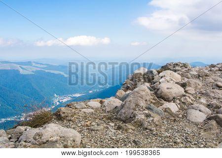 Panoramic View Over The Carpatian Mountains And Sinaia Town, Bucegi Natural Park, Romania.