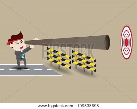 Businessman looking over obstacle to success, cartoon concept
