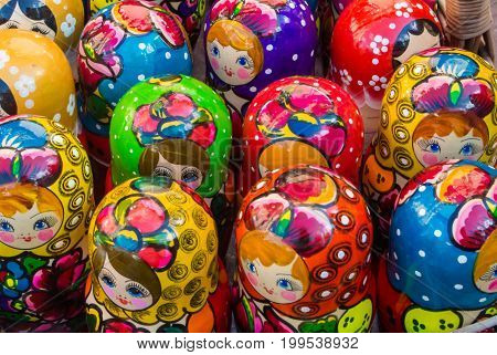 Moscow, Russia - July 26, 2017: Colorful Bright Russian Nesting Dolls Matrioshka At The Street Marke