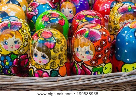 Moscow, Russia - July 26, 2017: Colorful Bright Russian Nesting Dolls Matrioshka In The Basket At Th