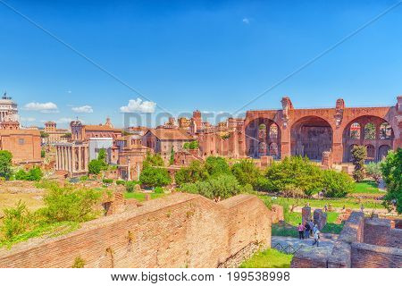 Rome, Italy - May 08, 2017 : Archaeological And Historical Objects In Rome, United By The Name - Rom