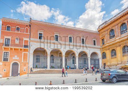 Rome, Italy-may 08, 2017: Piazza Di San Pietro In Vincoli. Rome, Italy.