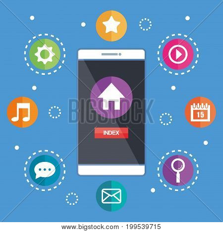 smartphone with index screen applications network vector illustration