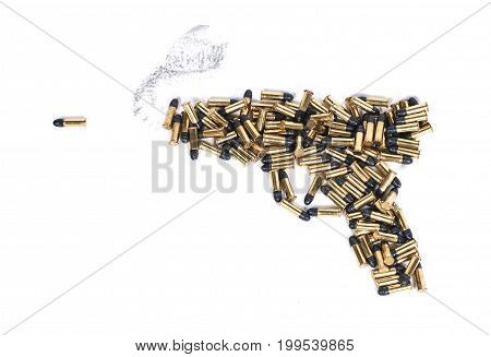 Gun made of ammo isolated against white background