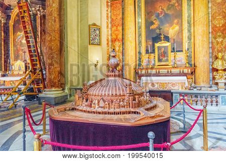 Rome, Italy - May 09, 2017 : Inside The Church Of St. Ignatius Of Loyola At Campus Martius (italian:
